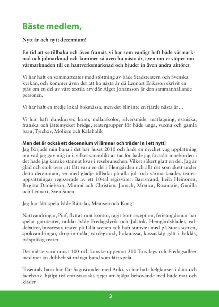 Hemgårdsbladet medlemstidning Föreningen Hemgården Borås