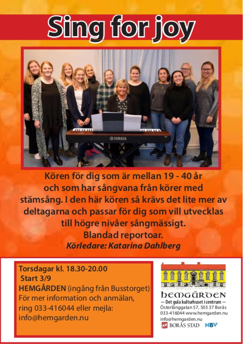 Sing for joy körsång Hemgården Borås