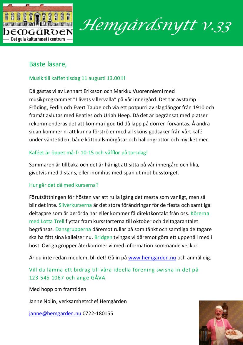 Senaste nyheterna från Hemgården Borås