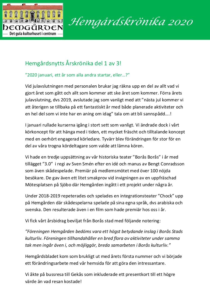 Hemgården i Borås årskrönika 2020